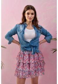 e-margeritka - Spódnica szyfonowa mini w kwiaty z falbanami - 40. Materiał: szyfon. Wzór: kwiaty. Sezon: wiosna, lato. Styl: elegancki