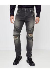 Balmain - BALMAIN - Szare jeansy z dziurami. Okazja: na co dzień. Kolor: szary. Wzór: aplikacja. Styl: casual