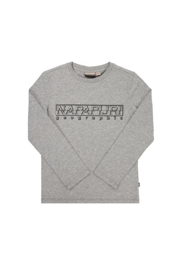Szara koszulka z długim rękawem Napapijri