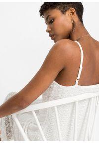 Sukienka szydełkowa bonprix biel wełny. Kolor: biały. Materiał: wełna. Długość rękawa: na ramiączkach