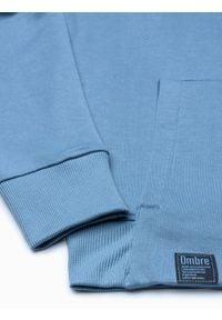 Ombre Clothing - Bluza męska z kapturem B1079 - błękitna - XXL. Typ kołnierza: kaptur. Kolor: niebieski. Materiał: poliester, bawełna