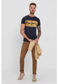 Pepe Jeans - T-shirt bawełniany Charing. Kolor: niebieski. Materiał: bawełna. Wzór: nadruk