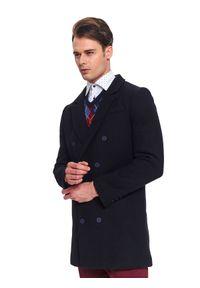 Niebieski płaszcz TOP SECRET na zimę, elegancki, z klasycznym kołnierzykiem, w kolorowe wzory