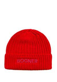 Czerwona czapka Bogner sportowa, w kolorowe wzory