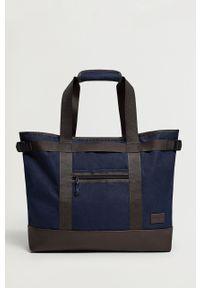 Niebieska torba Mango Man casualowa, gładkie