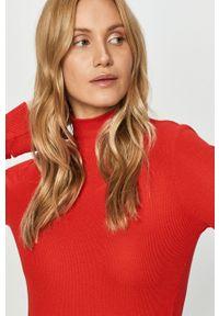 Czerwony sweter Hugo z długim rękawem, długi, casualowy