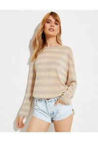 ONETEASPOON - Oversizowy sweter w pasy New Mexico. Kolor: beżowy. Materiał: wiskoza, tkanina