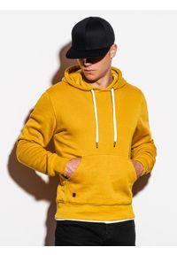 Żółta bluza Ombre Clothing z kapturem, klasyczna