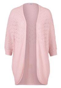 Sweter bez zapięcia bonprix pastelowy jasnoróżowy. Kolor: różowy. Długość rękawa: krótki rękaw. Długość: krótkie. Wzór: ażurowy