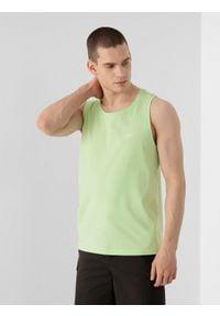 4f - Koszulka bez rękawów męska. Kolor: zielony. Materiał: dzianina, bawełna. Długość rękawa: bez rękawów