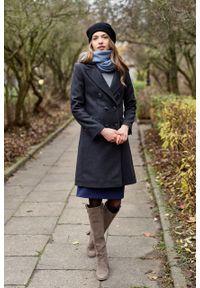 Marie Zélie - Płaszcz wełniany Debora grafitowy. Kolor: szary. Materiał: wełna. Wzór: motyw zwierzęcy, ze splotem. Sezon: zima. Styl: klasyczny