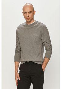 Calvin Klein - Bluza bawełniana. Okazja: na co dzień. Kolor: szary. Materiał: bawełna. Wzór: gładki. Styl: casual