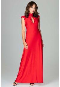 Czerwona sukienka na wesele Katrus maxi, z falbankami