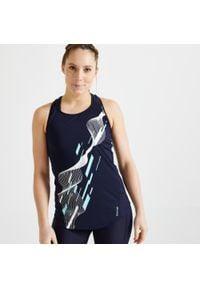 DOMYOS - Koszulka bez rękawów fitness. Kolor: niebieski. Materiał: elastan, poliester, materiał. Długość rękawa: bez rękawów. Długość: długie. Sport: fitness