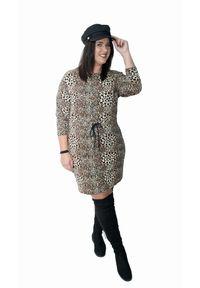 Sukienka dla puszystych Moda Size Plus Iwanek casualowa, na co dzień, z dekoltem w łódkę, na jesień