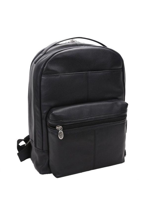 Skórzany męski plecak na laptopa MCKLEIN Parker 88555 czarny. Kolor: czarny. Materiał: skóra