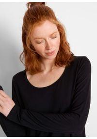 Shirt z dołem w szpic i efektem cieniowania, długi rękaw bonprix czarno-szary. Kolor: czarny. Długość rękawa: długi rękaw. Długość: długie