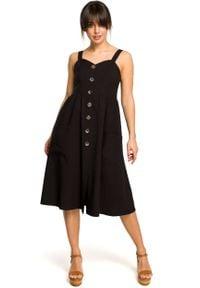 e-margeritka - Sukienka na ramiączkach midi czarna - 40. Kolor: czarny. Materiał: tkanina, poliester, len, materiał. Długość rękawa: na ramiączkach. Wzór: aplikacja. Sezon: lato. Typ sukienki: dopasowane, rozkloszowane. Długość: midi