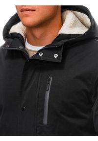 Ombre Clothing - Kurtka męska zimowa C517 - czarna - XXL. Kolor: czarny. Materiał: poliester. Sezon: zima