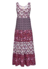 Długa sukienka bawełniana z dżerseju bonprix jeżynowy wzorzysty. Kolor: fioletowy. Materiał: bawełna, jersey. Długość: maxi