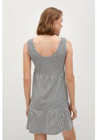 mango - Mango - Sukienka MAROTO. Kolor: biały. Materiał: dzianina, bawełna. Długość rękawa: na ramiączkach. Typ sukienki: rozkloszowane