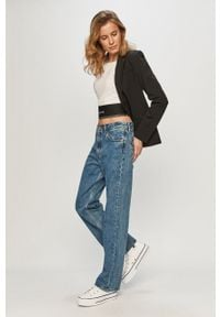 Biały top Calvin Klein Jeans na co dzień, z nadrukiem, casualowy