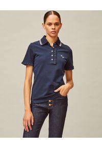 Tory Burch - TORY BURCH - Granatowa koszulka polo. Typ kołnierza: polo. Kolor: niebieski. Materiał: bawełna, jeans. Styl: klasyczny, elegancki