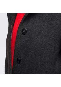 Czarny płaszcz Wittchen na jesień, klasyczny, ze stójką