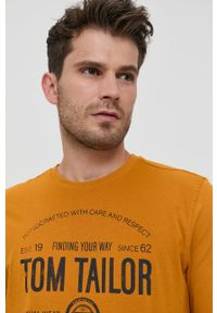 Tom Tailor - Longsleeve bawełniany. Okazja: na co dzień. Kolor: pomarańczowy. Materiał: bawełna. Długość rękawa: długi rękaw. Wzór: nadruk. Styl: casual