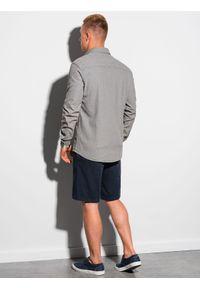 Ombre Clothing - Koszula męska z długim rękawem K566 - jasnoszara - XXL. Okazja: na co dzień. Kolor: szary. Materiał: bawełna, jeans. Długość rękawa: długi rękaw. Długość: długie. Styl: casual