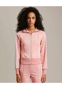 PALM ANGELS - Różowa bluza dresowa. Kolor: różowy, fioletowy, wielokolorowy. Materiał: dresówka. Długość rękawa: długi rękaw. Długość: długie. Wzór: aplikacja