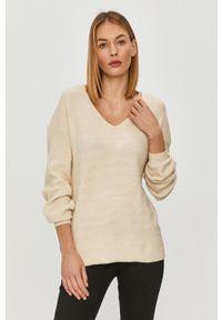 Kremowy sweter only casualowy, z długim rękawem, długi