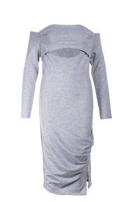 Born2be - Szara Sukienka Diomala. Okazja: na imprezę. Kolor: szary. Typ sukienki: asymetryczne, dopasowane. Długość: midi