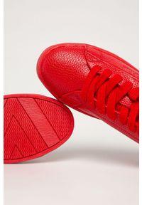Czerwone buty sportowe Big-Star na sznurówki, z cholewką, z okrągłym noskiem