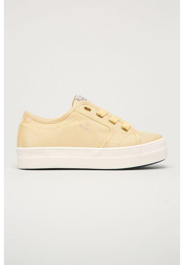 GANT - Gant - Tenisówki Leisha. Nosek buta: okrągły. Zapięcie: sznurówki. Kolor: żółty. Materiał: guma