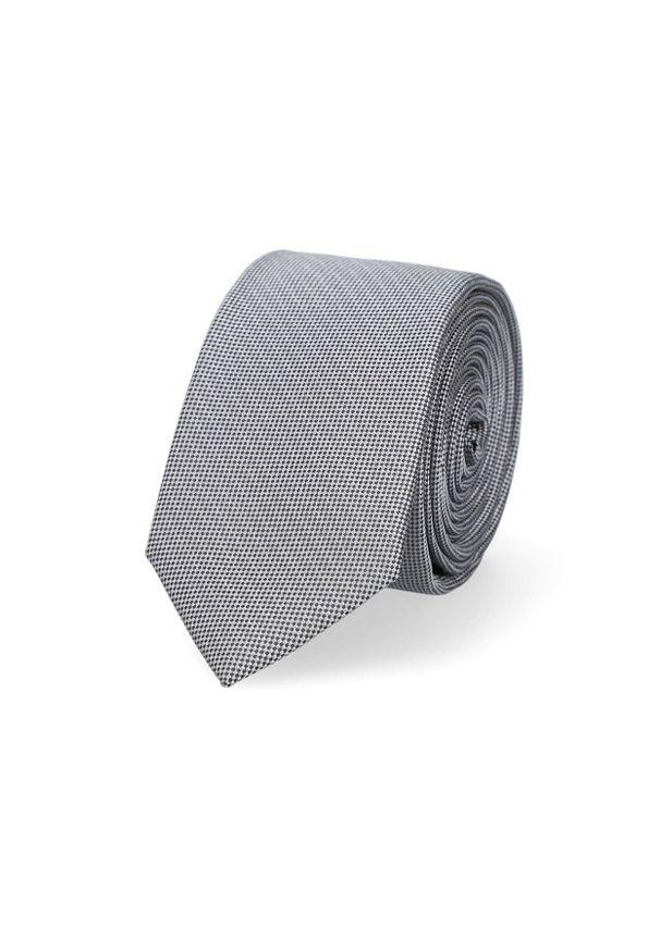 Lancerto - Krawat Szary w Mikrowzór. Okazja: do pracy, na co dzień. Kolor: szary. Materiał: tkanina, mikrofibra. Styl: wizytowy, klasyczny, casual