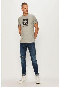 Szary t-shirt Converse z nadrukiem, z okrągłym kołnierzem