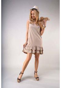 Beżowa sukienka wizytowa Nommo bez rękawów, z falbankami