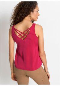 Bluzka bez rękawów z poliestru z recyklingu bonprix różowy magenta. Kolor: różowy. Materiał: poliester. Długość rękawa: bez rękawów