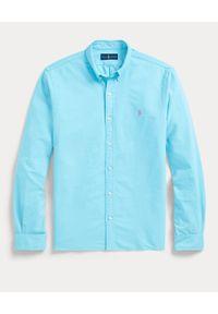 Ralph Lauren - RALPH LAUREN - Niebieska koszula Oxford Slim Fit. Typ kołnierza: button down, polo. Kolor: niebieski. Długość rękawa: długi rękaw. Długość: długie. Wzór: haft