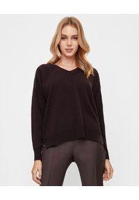 PESERICO - Brązowy sweter z aplikacją. Kolor: brązowy. Materiał: jedwab, wełna, kaszmir. Długość: długie. Wzór: aplikacja