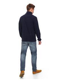 Niebieska bluza TOP SECRET ze stójką, na co dzień, casualowa