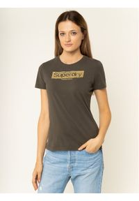 Superdry T-Shirt Premium Brand Emb W1000066A Szary Regular Fit. Kolor: szary