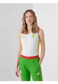 4f - Top funkcyjny damski Litwa - Tokio 2020. Kolor: biały. Materiał: materiał. Wzór: nadruk. Sezon: lato. Sport: fitness