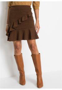 Spódnica mini w żakardowy wzór bonprix brązowy. Kolor: brązowy. Materiał: żakard