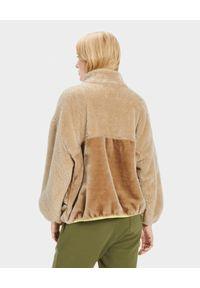 Ugg - UGG - Beżowa kurtka Marlene. Kolor: beżowy. Materiał: futro, poliester, bawełna. Sezon: jesień, zima