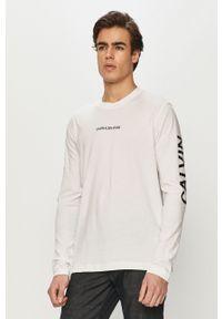 Biała koszulka z długim rękawem Calvin Klein Jeans na co dzień, casualowa