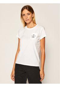Biały t-shirt Karl Lagerfeld z dekoltem karo