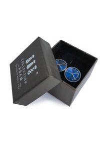 Modini - Spinki do mankietów - srebrno-niebieskie zegarki A187. Kolor: srebrny, niebieski, wielokolorowy