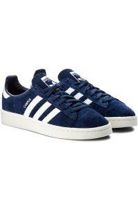 Niebieskie półbuty Adidas z paskami, w paski, z cholewką